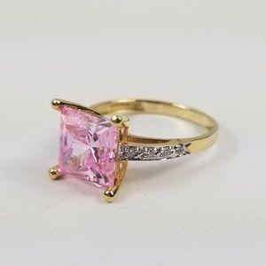 Diamonique 3.55 cttw Princess Cut Pink Ring 14k